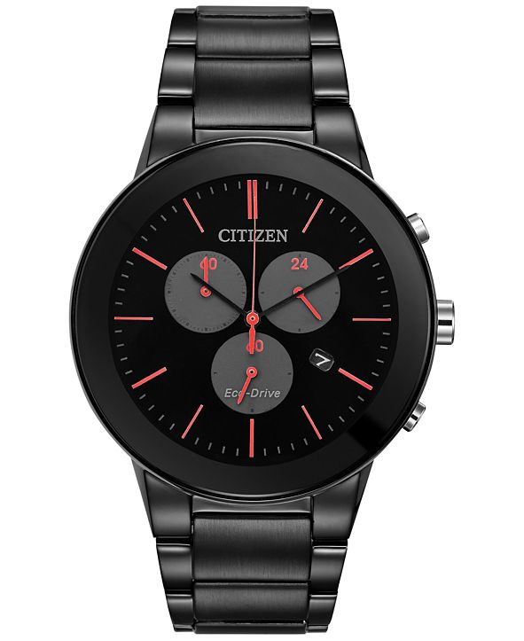 Citizen Eco-Drive Men's Chronograph Axiom Black Ion-Plated Stainless Steel Bracelet Watch 43mm AT2245-57F, A Macy's Exclusive