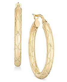 Quilted-Pattern Tubular Oval Hoop Earrings in 14k Gold