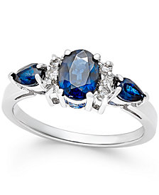 Sapphire (1-5/8 ct. t.w.) and Diamond (1/8 ct. t.w.) Ring in 14k White Gold