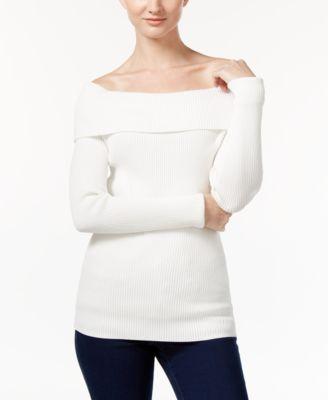 MICHAEL Michael Kors Petite Ribbed Off-The-Shoulder Sweater ...
