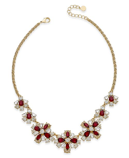 Charter Club Floral Crystal Collar Necklace, Created for Macy's