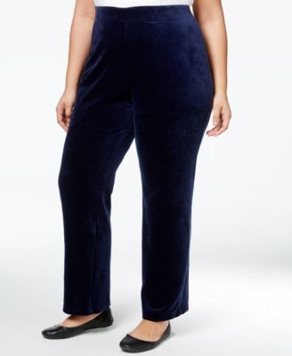 Karen Scott Plus Size Velour Pull-On Pants, Only at Macy's