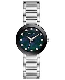 Bulova Women's Futuro Diamond Accent Stainless Steel Bracelet Watch 26mm 96P172