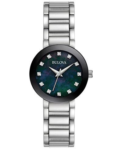 Bulova Women's Diamond Accent Stainless Steel Bracelet Watch 26mm 96P172