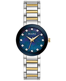 Bulova Women's Diamond Accent Two-Tone Stainless Steel Bracelet Watch 26mm 98P157