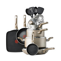 T-Fal Culinaire 16-Piece Cookware Set (Champagne / Red)