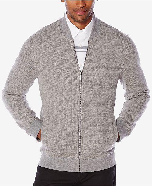 Perry Ellis Men's Jacquard Zip-Front Sweater