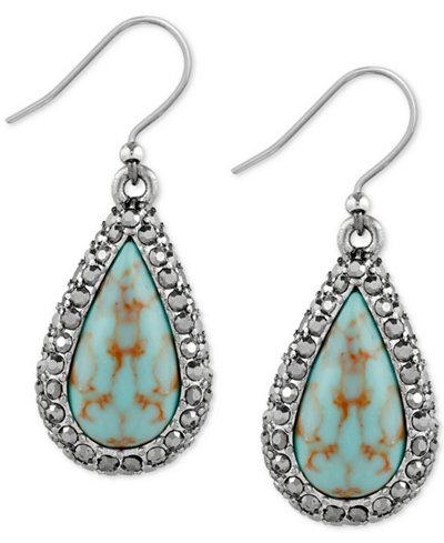Lucky brand silver tone blue stone teardrop drop earrings for Macy s lucky brand jewelry