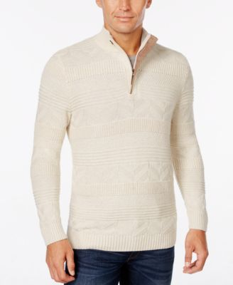 Tasso Elba Men's Big and Tall Quarter Zip Mixed Stitch Sweater ...
