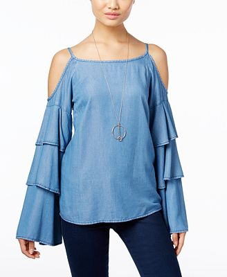 INC International Concepts Cold-Shoulder Ruffled Denim Top, Only at Macy's