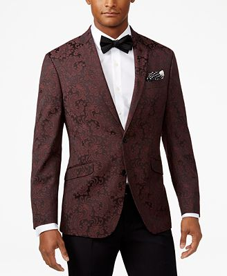 Kenneth Cole Reaction Men's Slim-Fit Burgundy Paisley Dinner ...