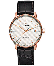 Rado Men's Swiss Automatic Coupole Classic Dark Brown Leather Strap Watch 41mm R22877025