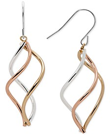 Tri-Tone Swirl Drop Earrings in Sterling Silver, 14k Gold-Plate, and 14k Rose Gold-Plate
