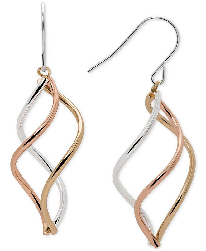 Macy's Tri-Tone Swirl Drop Earrings in Sterling Silver, 14k Gold-Plate, and 14k Rose Gold-Plate