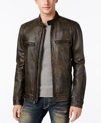lucky brand men's café racer leather moto bomber jacket - coats