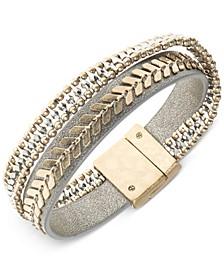 Two-Tone Leather Multi-Row Flex Bracelet