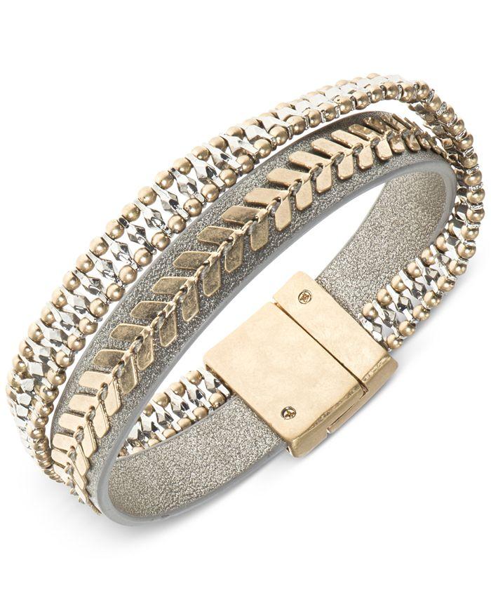 lonna & lilly - Two-Tone Leather Multi-Row Flex Bracelet