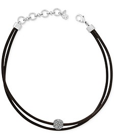 Silver-Tone Black Leather Crystal Choker Necklace