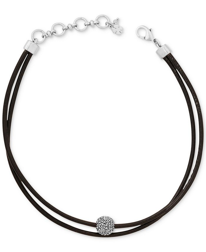 Lucky Brand - Silver-Tone Black Leather Crystal Choker Necklace