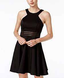 Juniors' Illusion-Waist Scuba Fit & Flare Dress