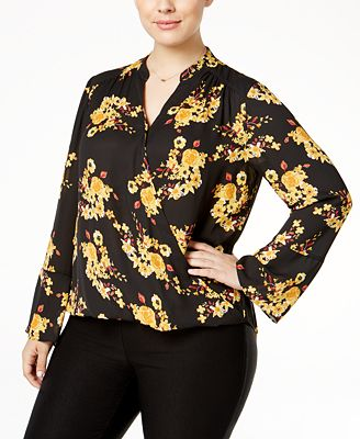 INC International Concepts Plus Size Printed Surplice Blouse, Only at Macy's