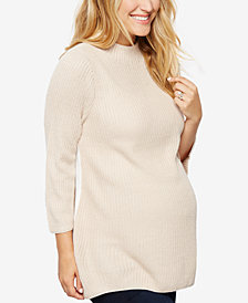Design History Maternity Three-Quarter-Sleeve Sweater