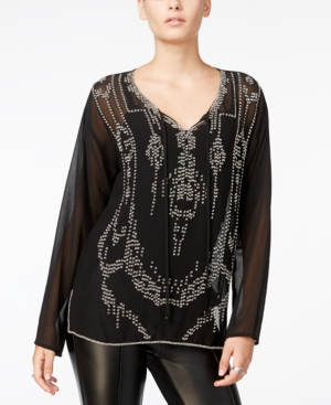 1920s Style Blouses, Tops, Sweaters, Cardigans Fair Child Sheer Beaded Top A Macys Exclusive $44.55 AT vintagedancer.com