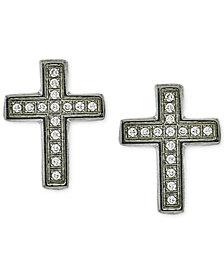 Men's Diamond Cross Stud Earrings (1/10 ct. t.w.) in Stainless Steel