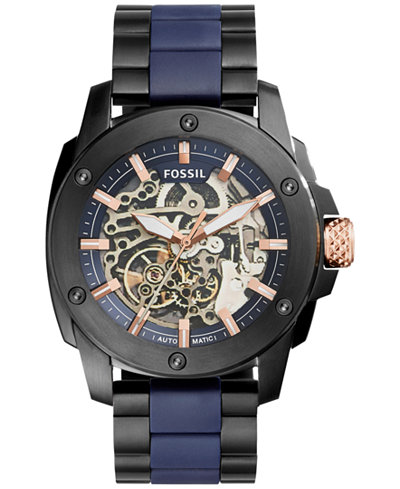 male male macy s fossil men s automatic modern machine black ion plated stainless steel and blue silicone bracelet watch
