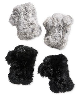 Surell Fingerless Rabbit Fur Gloves
