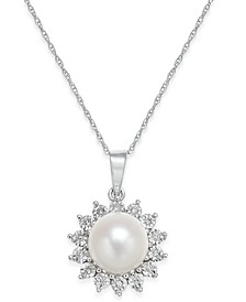 Cultured Freshwater Pearl (8mm) and Diamond Accent Pendant Necklace in 10k White Gold