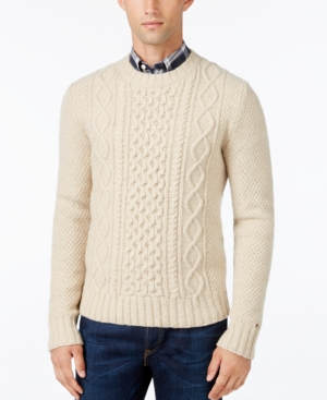 Men's Vintage Style Sweaters – 1920s to 1960s Tommy Hilfiger Mens Finn Cable-Knit Sweater $39.99 AT vintagedancer.com