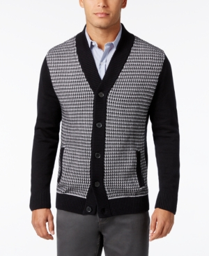 Men's Vintage Style Sweaters – 1920s to 1960s Alfani Mens Big and Tall Colorblocked Textured-Panel Cardigan Only at Macys $29.99 AT vintagedancer.com