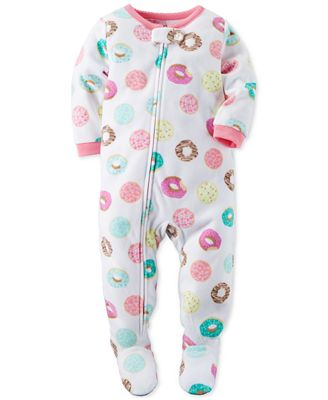 Carter's 1-Pc. Donut-Print Footed Pajamas, Toddler Girls (2T-5T ...
