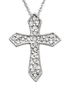 14k White Gold Diamond Cross Pendant (1/6 ct. t.w.)