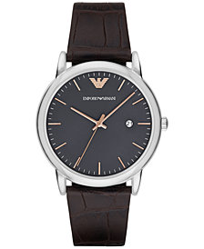 Emporio Armani Men's Luigi Dark Brown Leather Strap Watch 43mm AR1996