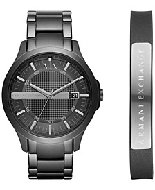 Men's Hampton Black Stainless Steel Bracelet Watch Gift Set 46mm  AX7101