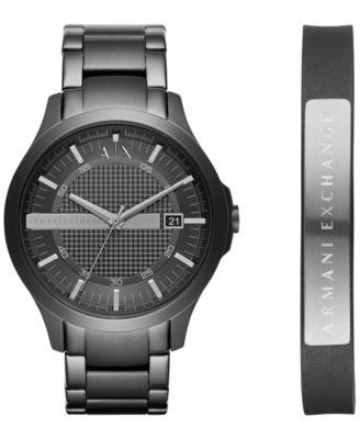 ax armani exchange menu0027s hampton black stainless steel bracelet watch gift set 46mm ax7101 - Stainless