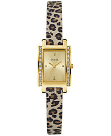 GUESS Women's Animal-Print Leather Strap Watch 20mm U0888L3