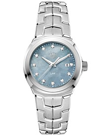 Women's Swiss LINK Diamond (1/10 ct. t.w.) Stainless Steel Bracelet Watch 32mm