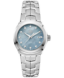 TAG Heuer Women's Swiss LINK Diamond (1/10 ct. t.w.) Stainless Steel Bracelet Watch 32mm WBC1313.BA0600