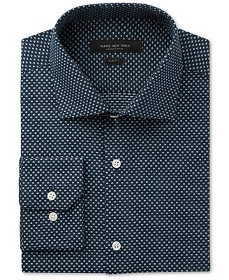 Marc New York Men's Slim-Fit Motion-Ease Collar Wrinkle-Free Box-Print Dobby Dress Shirt