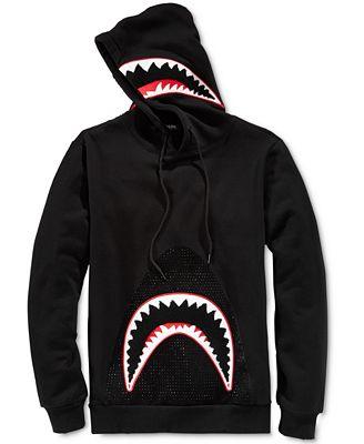 Hudson NYC Men's Black Studded Shark Hoodie