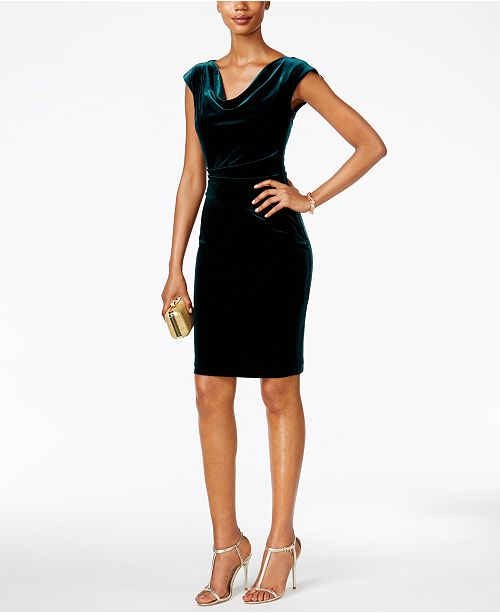 Draped Cowl Neck Dress: Jessica Howard Draped Cowl-Neck Velvet Dress