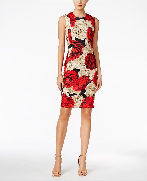 d140350b03 ... Calvin Klein Floral-Print Scuba Sheath Dress