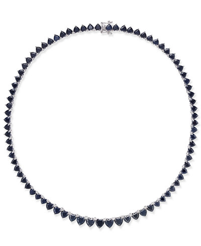 Black Heart Sapphire Collar Necklace (52 ct. t.w.) in Sterling Silver, Created for Macy's