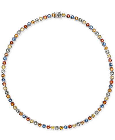 Colored Sapphire All-Around Collar Necklace (25 ct. t.w.) in Sterling Silver, Created for Macy's