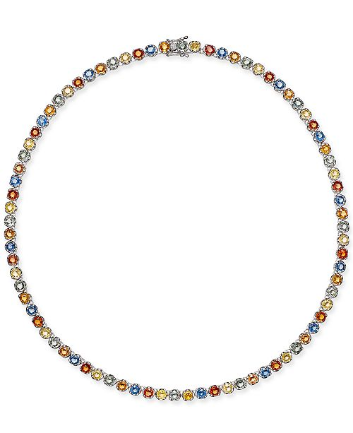 Macy's Colored Sapphire All-Around Collar Necklace (25 ct. t.w.) in Sterling Silver, Created for Macy's