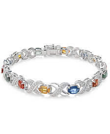 Multi-Sapphire (8 ct. t.w.) and Diamond Accent Link Bracelet in Sterling Silver, Created for Macy's