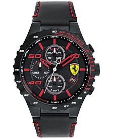 Ferrari Men's Chronograph Speciale Evo Chrono Black Leather Strap Watch 45mm 0830363